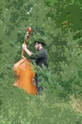 bassplayer in the green
