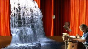 accompanying a waterfall on stage