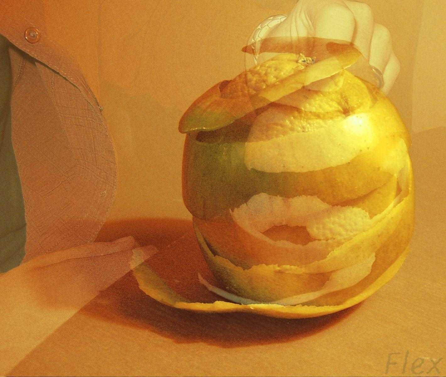 a peeled orange still life